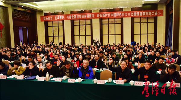 出席市政协九届三次会议的委员举手表决通过大会的各项决议许志平摄.JPG